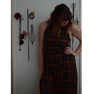 Silence + Noise Plaid Grunge Midi Dress